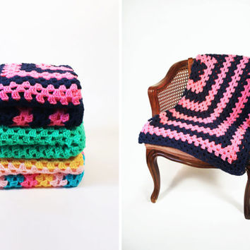 Retro Afghan Crochet Blanket - Navy Blue and Hot Pink Stripe Granny Square Full Large Mid Century Modern