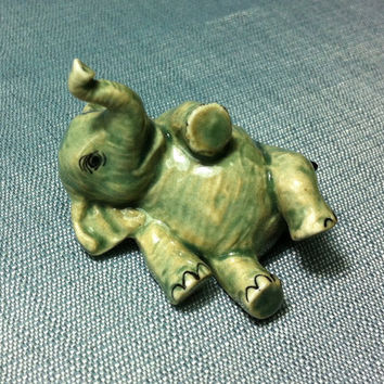 Miniature Ceramic Elephant Animal Funny Cute Little Tiny Small Grey Figurine Statue Figure Decoration Hand Painted Craft Display Collectible