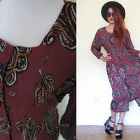 Vintage 90's maroon wrinkle native tribal ethnic india indian print paisley button down hippie boho bohemian maxi