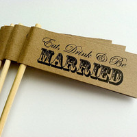 Drink Stirrers Wedding Cupcake Flags on by PurplePeonyCouture