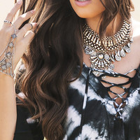 Chunky Tribal Coin Choker Necklace