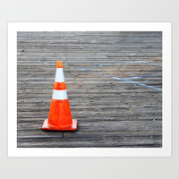 Warning Cone Art Print by Henrik Lehnerer