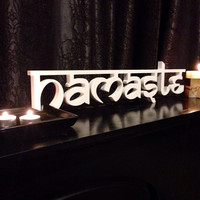 Sanskrit - namaste sign - hello wood Sign - Yoga Studio Decor - Yoga Home Decor
