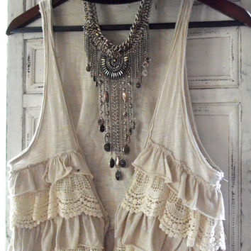 779b2c2838f2 Romantic gypsy cowgirl lace vest, rustic prairie boho beach sand, cottage  chic, womens