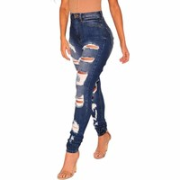 Denim Destroyed Ripped High Waist Skinny Jeans