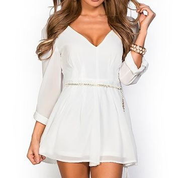 Ashton White Chiffon Long Sleeve Short Romper Dress with Belt