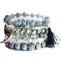 Gemstone Crystal Stretchy Beaded Charm Tassel Silver Bracelet Stack