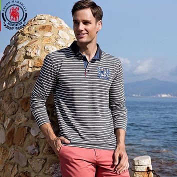 Men Striped Polo Shirts Cotton Home Embroidery Polo Men Stand Collar Male Clothing