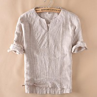 Summer Casual Loose Hombre Linen Cotton Men Clothing
