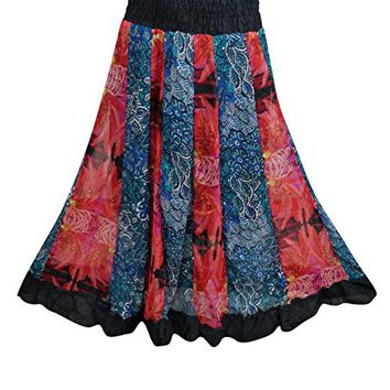Womens Maxi Skirt Multi Patchwork Bohemian Long Skirts Gift For Her