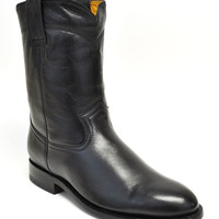 Gavel Handcrafted Men's Goatskin Roper Boots Round Toe-Black