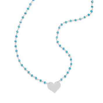 Reconstituted Turquoise Bead Necklace with Engravable Heart Tag