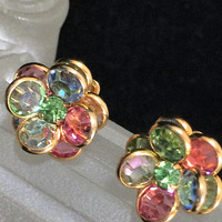 Pastel Austrian Crystal Pierced Earrings, Rhinestone Flower, Pink Green Blue Yellow, Gold Tone Setting, Romantic Summer Style 618m