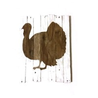 10 x 12 inch Handmade Rustic White Washed Thanksgiving Turkey Silhouette on Genuinely Aged Reclaimed Barn Wood