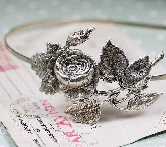 Rose headband vintage style silver finish by mylavaliere on Etsy