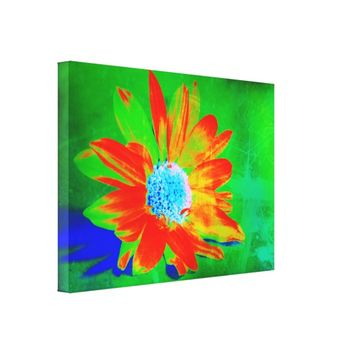Daisy Pop Art in Orange.Green, Blue Canvas Print