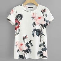 Flower Print Round Neck T shirt Women Weekend Casual Short Sleeve Tshirt Going Out Ladies Tops