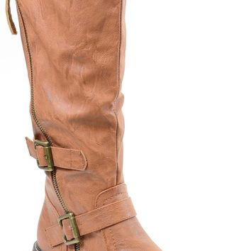 Tan Riding Double Ankle Strap Knee-high Women's Vegan Biker Boots