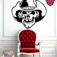 Vinyl Sticker Wall Art Decor Scary Smiling Skull Mexican Cowboy Unique Gift EM050