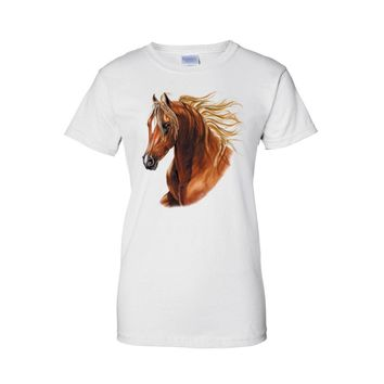 Women's Juniors T Shirt Golden Hair Brown Horse Graphic Tee