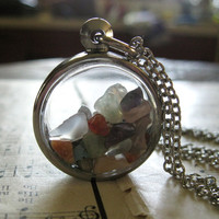 Jude Necklace No. 3 - Silver 3D Locket Window Pendant Multi Mixed Gem Sones on Antique Silver Chain - Boho Modern Gift