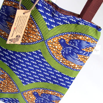Freedom Tote Bag Authentic Uganda Fabric Bird African Wax Print Bag Books Travel Bag Congo Adoption Fundraiser