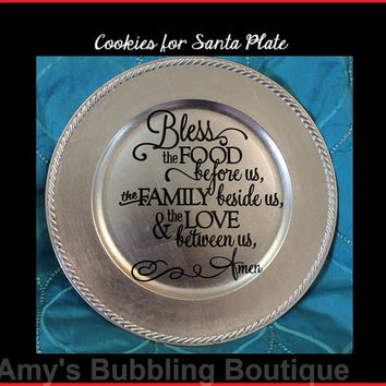 Christmas Gift, Silver Decorative Plate, Christmas Plate, Family Blessing Plate, Home Decor, Cookie Plate Gift, Blessed Family