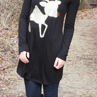 Glitter Rudolf the Reindeer Tunic Top - Black - Kids sizes to 3XL