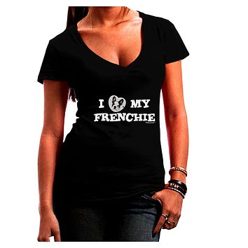 I Heart My Frenchie Juniors V-Neck Dark T-Shirt by TooLoud