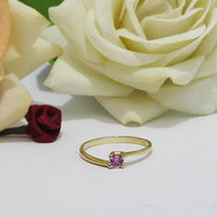 Engagement Ring, Solitaire Ring, Pink Sapphire Ring, Thin Ring 14K Yellow gold, September Birthstone