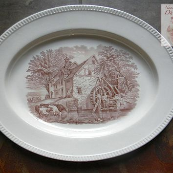 "Antique Circa 1880 Copeland Spode 17"" Brown English Transferware Platter Duncan Rural Scenes - Grazing Cows Cattle Water Mill Farm"