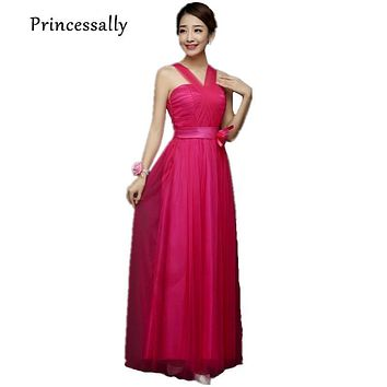 Hot Pink Bridesmaid Dresses Long Strapless Cheap Prom Party Dusty Purple Bridesmaid Gown Royal Blue Robe De Mariee 2017