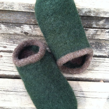 Men's Felted Wool Clogs/Slippers Size 12 Forest Green
