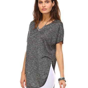 Black Melange Carrie V-Neck Tunic