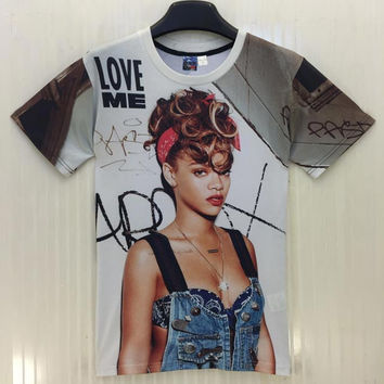 Rihanna print T shirt fashion Women/Men&'s Marilyn Monroe 3d T-shirt sexy stars Tshirt tops Tees T64