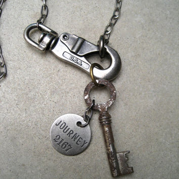 Antique Key Necklace - USA - Journey Necklace - Unisex - Chunky Hardware Necklace - Silver