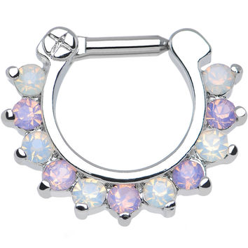 "14 Gauge 1/4"" Alluring Faux Opal and Light Purple Gem Septum Clicker"