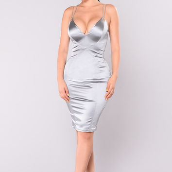 Feeling Some Way Dress - Silver