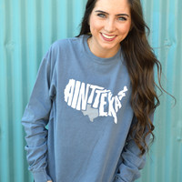 """Ain't Texas"" Long Sleeve T-Shirt- Blue"