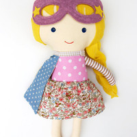 Superhero girl custom doll - a ragdoll to play pretend plays with, ideal gift for toddlers, kids or for babshower, kidsroomdecor