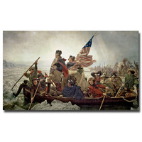"Trademark Art ""Washington Crossing Delaware River in, 1776"" by Emanuel Leutze Painting Print on Canvas"