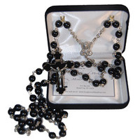 Black Replica Rosary - Handcrafted by the Sisters