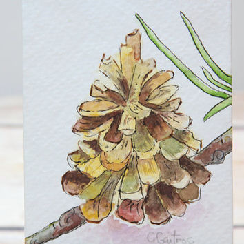Original watercolor painting, pinecone earth watercolor, decor, tabletop decor, home decor, masculine, affordable gift under 25, nature art