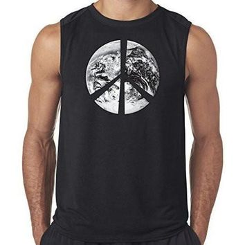 "Yoga Clothing for You Mens ""Peace Earth"" Muscle Tee Shirt"