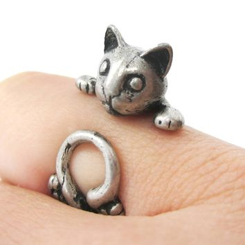Creepy Kitty Cat Shaped Animal Wrap Around Ring in Silver | US Size 5 to Size 8.5
