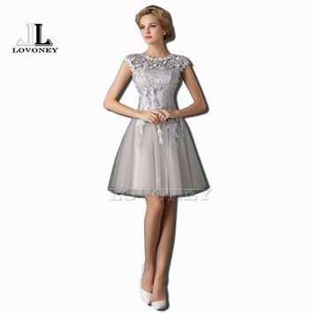 LOVONEY T402 A-Line Cap Sleeves Short Prom Dresses 2017 Lace-up Red Prom Dress Evening Party Dresses Gown Robe De Soiree Courte