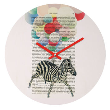 Coco de Paris Flying Zebra Round Clock