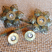 Bullet jewelry. Bullet earrings and hairpin set