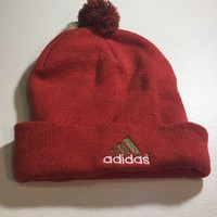 DCCKIHN BRAND NEW ADIDAS ORANGE AND RED POMPOM KNIT HAT SHIPPING
