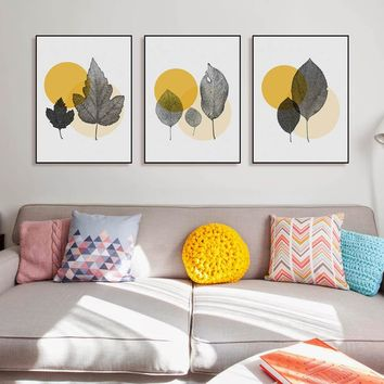 Modern Abstract Yellow Circle Transparent Leaf Posters Nordic Living Room Wall Art Pictures Home Decor Canvas Paintings No Frame